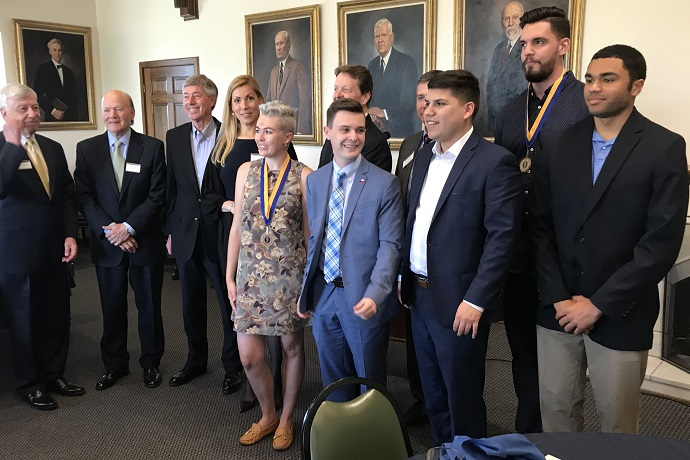 Hatton W. Sumners Luncheon, April 5, 2019.  HWS Trustees and current Sumners Scholars as well as the faculty sponsors and university administrators were in attendance.  Two Scholars who graduated in December 2018 were honored.