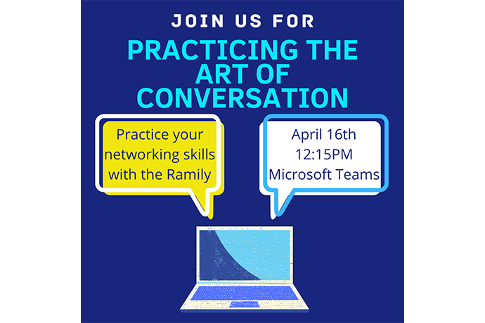 Digital graphic of two speech bubbles coming out from a laptop computer with the event information for Practicing the Art of Conversation event.