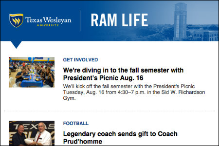 Ram Life is the Texas Wesleyan student life newsletter