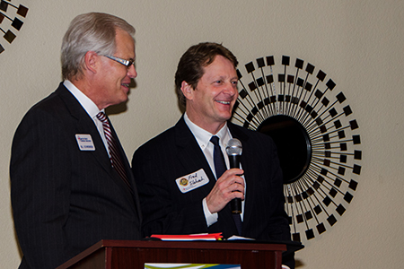 President Slabach accepts the award from Bill Schwennsen, director, EFWBA board. Photo by Lloyd Jones.