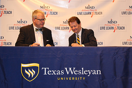 Texas Wesleyan University and Mansfield ISD announced a new partnership that gives Mansfield ISD high school students the opportunity to get a jump start on their teaching career and college education.