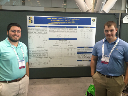 "Scott Anderson and David Nitschmann present their research titled: ""Copper Mediated Synthesis of 2,4 Diaminopyrimidines: A Potential New Class of DHFR Inhibitors,"" at the ACS National Meeting."