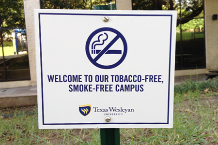 Tobacco-free campus sign.