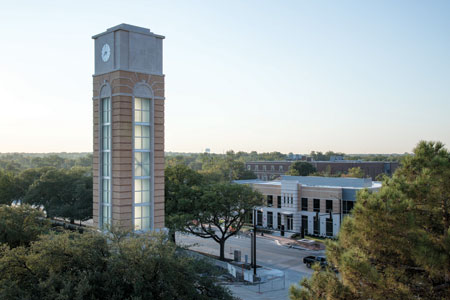 The Canafax Clocktower nears completion on the Texas Wesleyan campus.