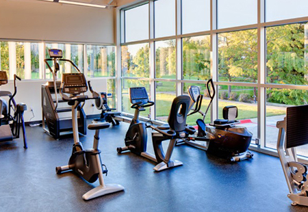 An image of the cardio machines in the Morton Fitness Center.