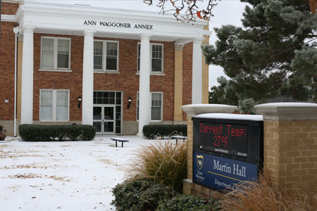 Ice and snow cover the Ann Waggoner Annex.