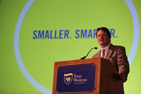 "President Frederick G. Slabach debuts the new line of ""Smaller. Smarter."" commercials."