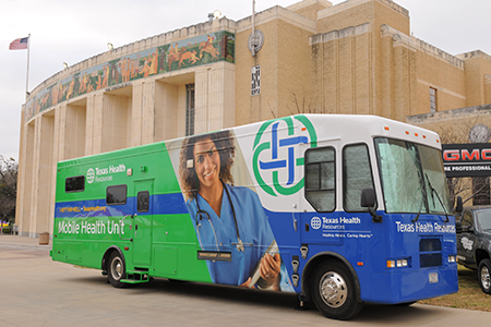 Texas Health Harris Methodist of Fort Worth will be on campus for mammogram screenings on Friday, Feb. 13. The mobile bus will be parked in lot K, next to Lou's Place.
