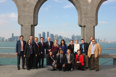 Abbey Borghee from Texas Wesleyan (top row, eighth from left) and fellow delegates traveled to Qatar to kick off their fellowship program year.