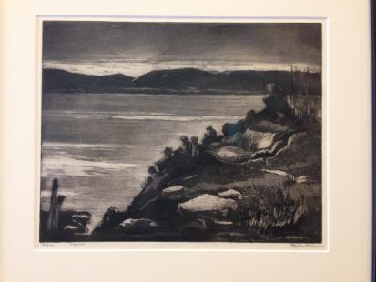 Print in Wesleyan's permanent collection titled 'Fishing' by Fort Worth artist Blanch McVeigh.