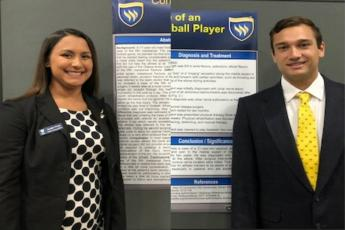 Photo of Texas Wesleyan athletic training students Breanne Zuniga and Julio Ibarra present their findings at the Southwest Athletic Trainers' Association Annual Meeting.