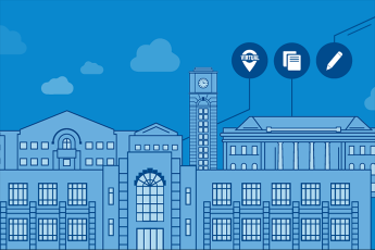 A digital image with the outlines of major TXWES buildings, along with three symbols, a virtual checkmark, documents and a pencil representing the three newest changes we have made to TXWES admissions.